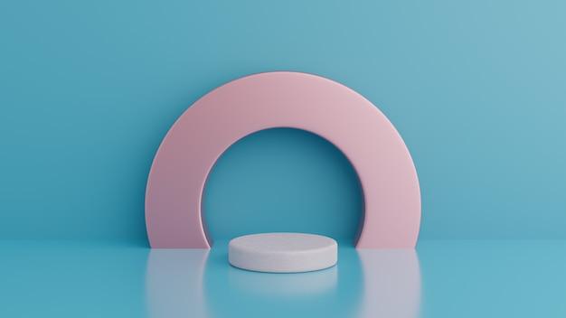 Podio. minimalismo astratto con sfondo blu, rendering 3d