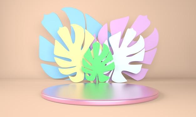 Display podio con monstera lascia il rendering di piante tropicali