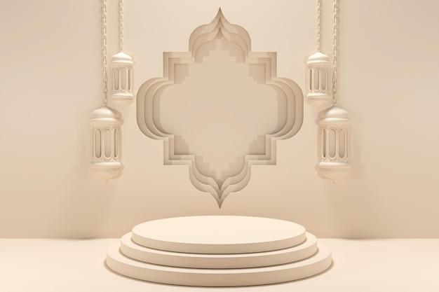 Decorazione del display islamico del podio con lanterna araba