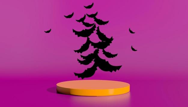Podio e sfondo astratto minimo per halloween, forma geometrica di rendering 3d. illustrazione 3d.