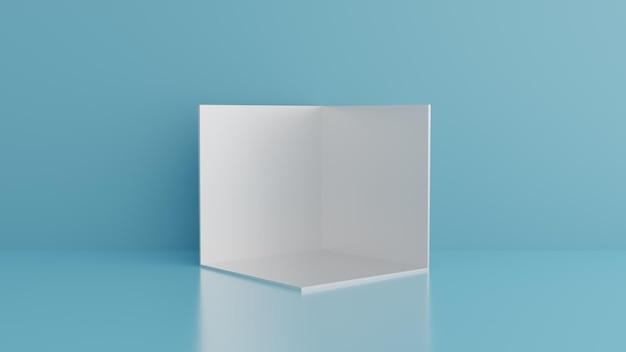 Podio e podio della scena del muro blu minimo Psd Premium