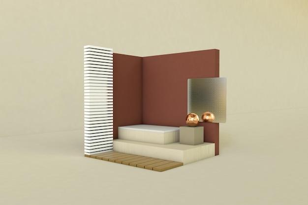 Podio, piedistallo o piattaforma, sfondo cosmetico per la presentazione del prodotto