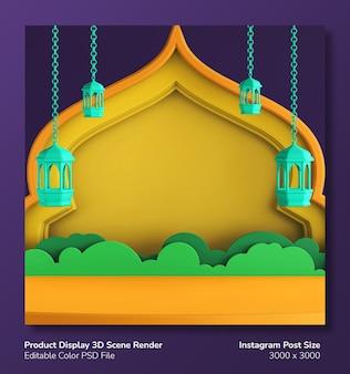 Podio display prodotto 3d rendering ramadan eid mubarak tema