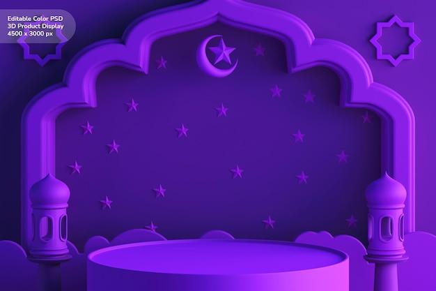 Display del prodotto sul podio con concetto di design 3d a colori modificabile tema ramadan eid mubarak