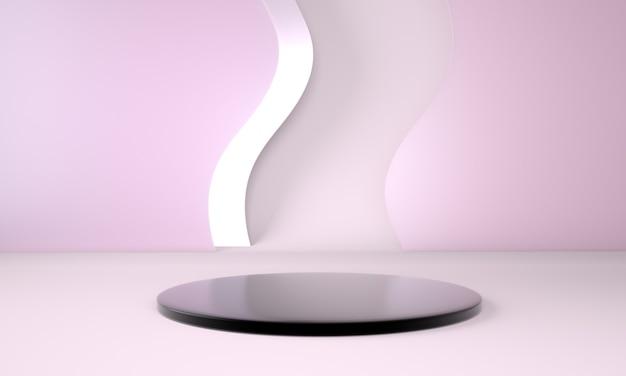 Uso del podio per la presentazione del prodotto con sfondo onda