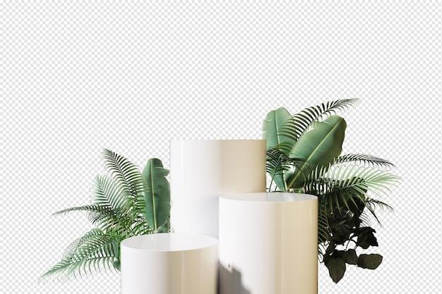 Podio con foglie in rendering d isolato