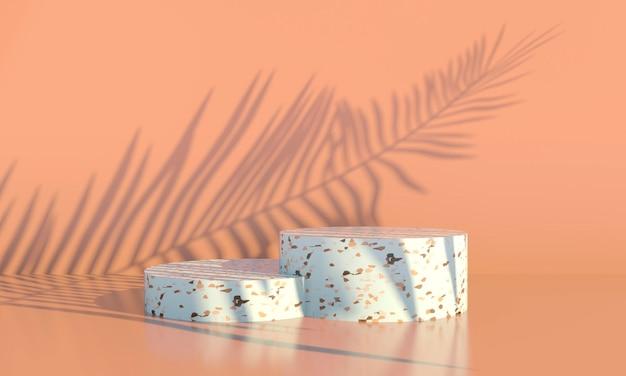 Podio con foglie di palma su sfondo pastello. vetrina scenica concettuale