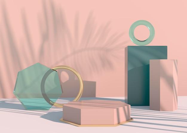 Podio con ombre di foglie di palma per la presentazione di prodotti cosmetici. sfondo piedistallo vetrina vuota mock up. rendering 3d. Psd Premium