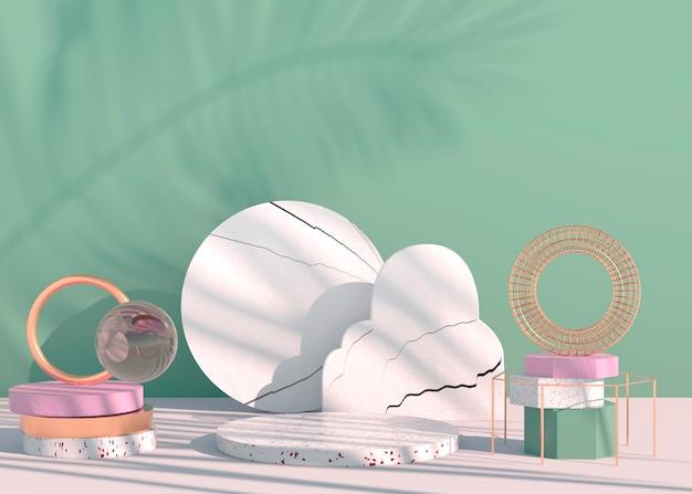 Podio con ombre di foglie di palma per la presentazione di prodotti cosmetici. sfondo piedistallo vetrina vuota mock up. rendering 3d.