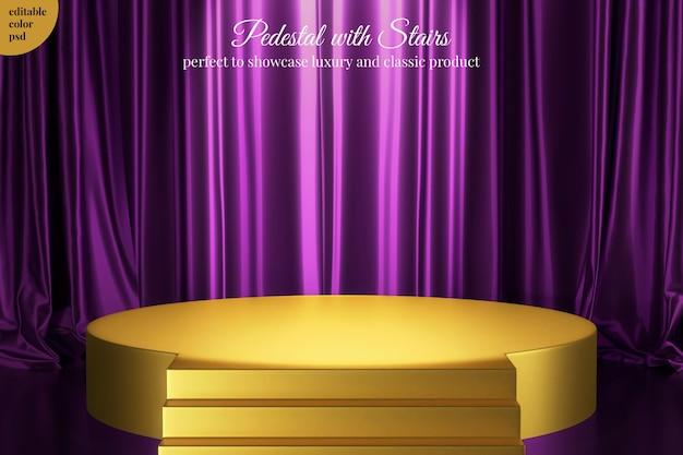 Podio con scale per prodotto elegante con sfondo di tenda di raso di seta viola di lusso