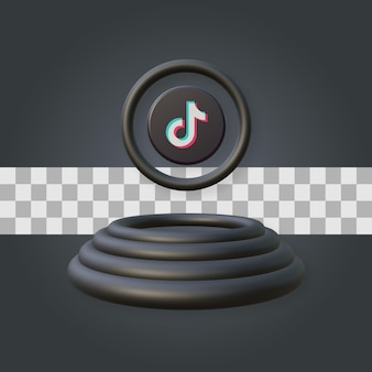 Podio con rendering 3d logo tiktok