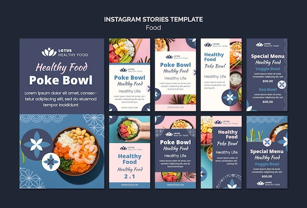 Poke bowl pasto insta stories modello di progettazione
