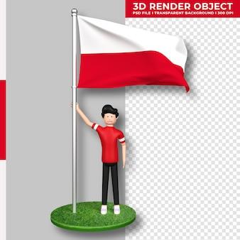Bandiera della polonia con personaggio dei cartoni animati di persone carine. giorno dell'indipendenza. rendering 3d.