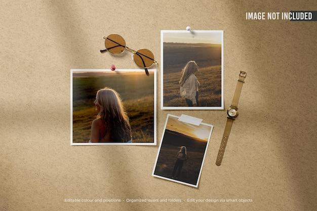Mockup di foto polaroid moodboard