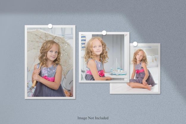 Modello di cornice per foto polaroid con sovrapposizione di ombre