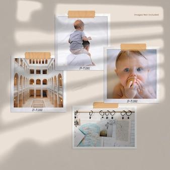 Moodboard da parete con foto polaroid accanto a windows