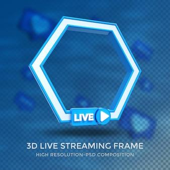 Cornice 3d profilo poligono per lo streaming live sui social media