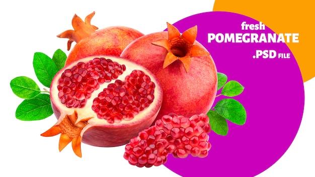 Insegna di frutti del melograno isolata