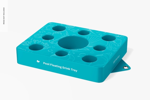 Mockup di vassoio per bevande galleggiante da piscina