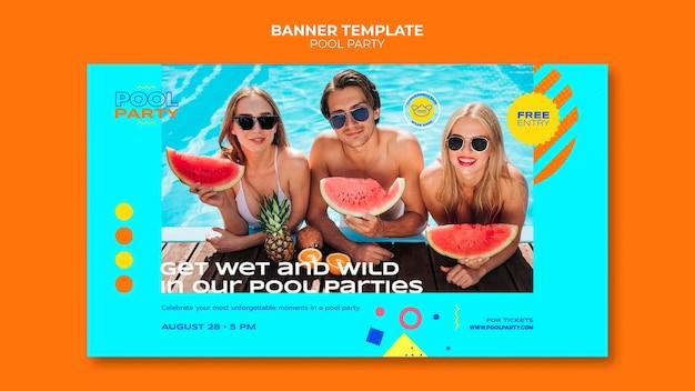 Modello di banner per feste in piscina
