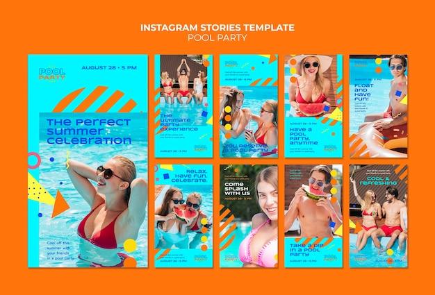 Storie di social media per feste in piscina