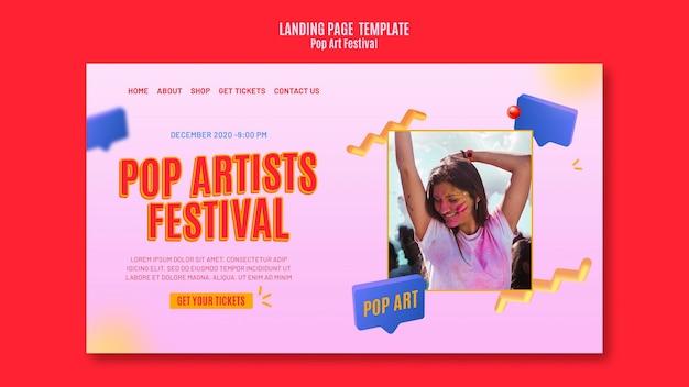 Modello di pagina di destinazione del festival pop art