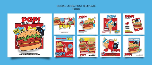Post sui social media di cibo pop art