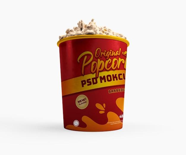 Vista laterale inferiore del mockup realistico del cestino del contenitore di cibo del cinema del popcorn