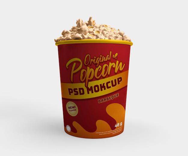 Vista frontale del mockup realistico del cestino del contenitore di cibo del cinema del popcorn