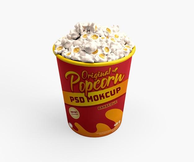 Vista frontale superiore del mockup realistico del cestino del contenitore di cibo del cinema del popcorn