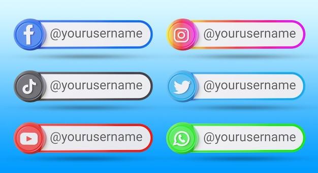 Set di raccolta dei terzi inferiori dei social media popolari
