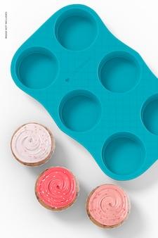 Mockup di teglia per muffin in porcellana, primo piano