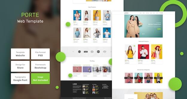 Modello web del negozio di moda di porte