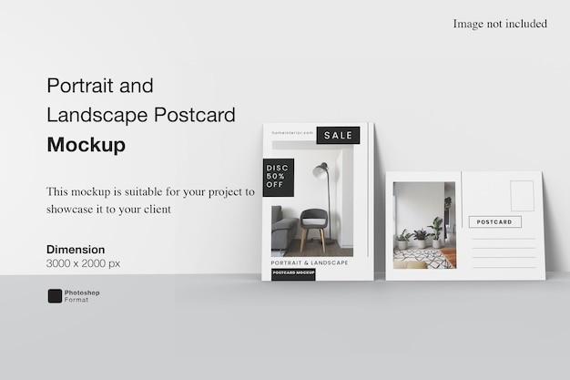 Mockup di cartolina verticale e orizzontale