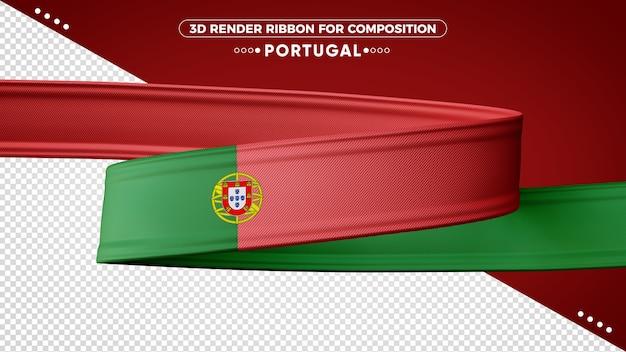 Nastro di rendering 3d portogallo per la composizione