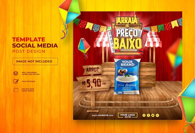 Pubblica social media arraia sao joao 3d render brasile festa junina