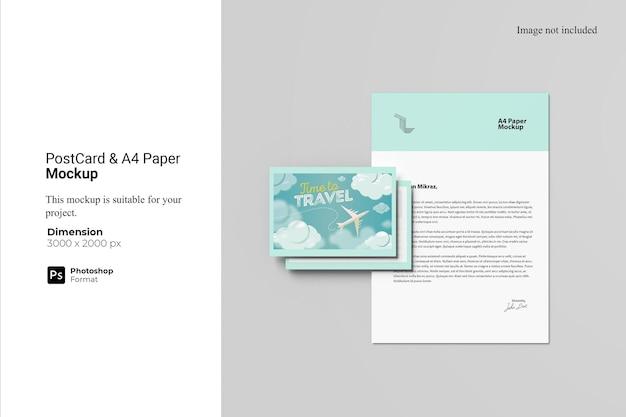 Cartolina e mockup di carta a4