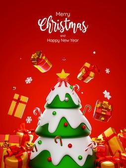 Cartolina di albero di natale circondato da confezione regalo, illustrazione 3d