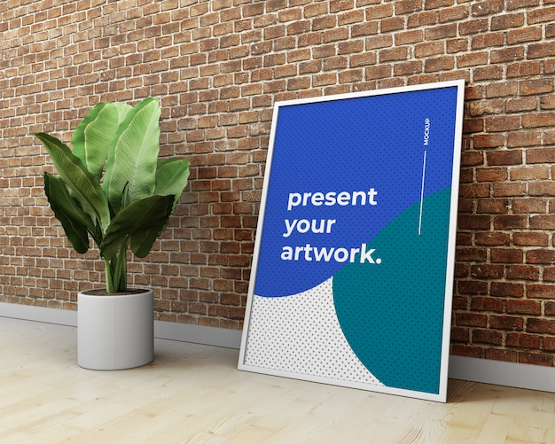 Manifesto / materiale illustrativo psd mockup sul muro di mattoni e sulla pianta. poster mockup in interni