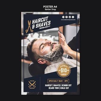 Modello di negozio di barbiere di poster