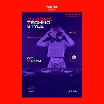 Poster dj set modello di live streaming