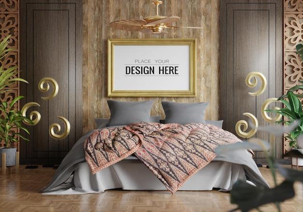 Mockup di cornice per poster in una camera da letto