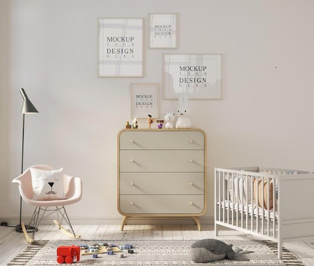 Mockup di cornice per poster in graziosi interni della stanza della scuola materna