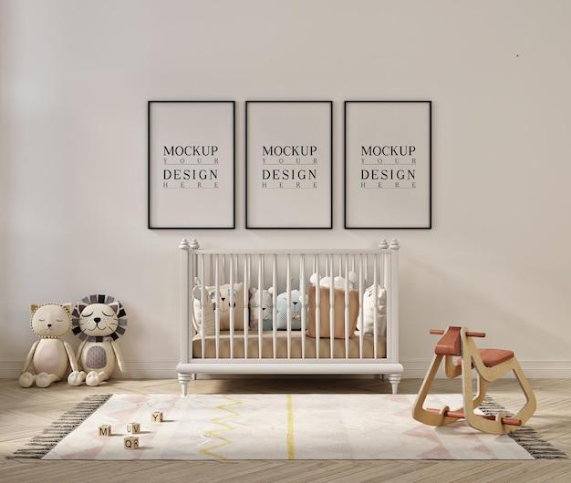 Mockup di cornice per poster all'interno della stanza della scuola materna carina Psd Premium