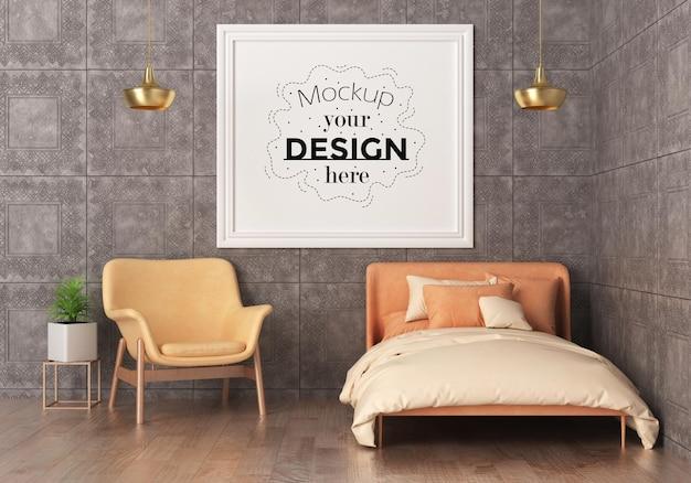 Poster frame mockup interno in una camera da letto