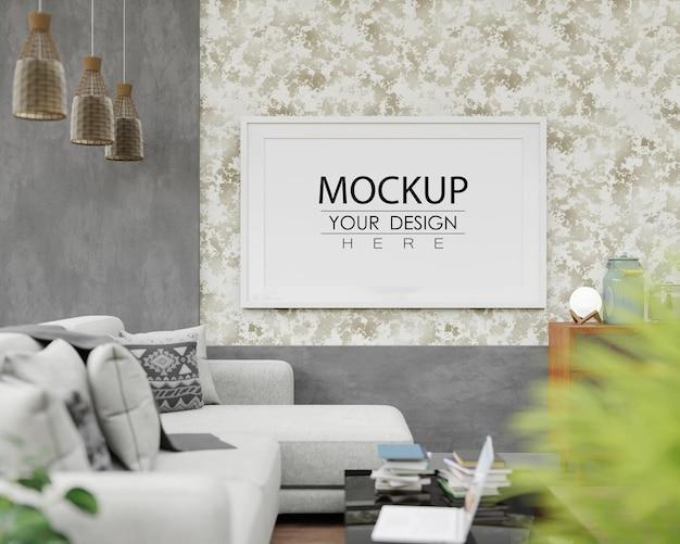 Mockup di cornice per poster in soggiorno