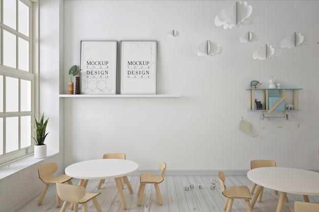 Mockup di cornice per poster nella moderna scuola materna