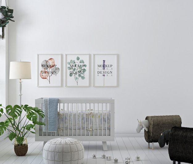 Mockup di fotogramma poster nella stanza semplice della scuola materna