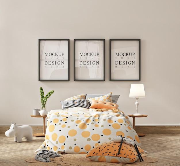Mockup di cornice per poster in interni semplici e carini della camera da letto dei bambini
