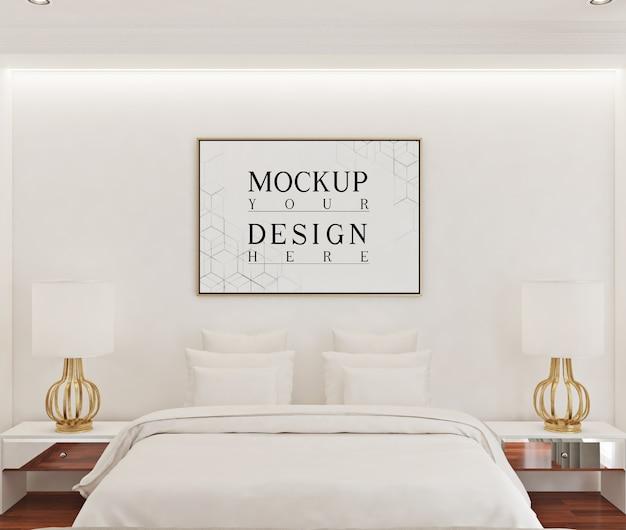 Mockup di cornice per poster in camera da letto bianca